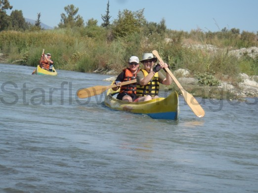 canoeing...yes we made it more difficult than it looked...but we did not capsize!..